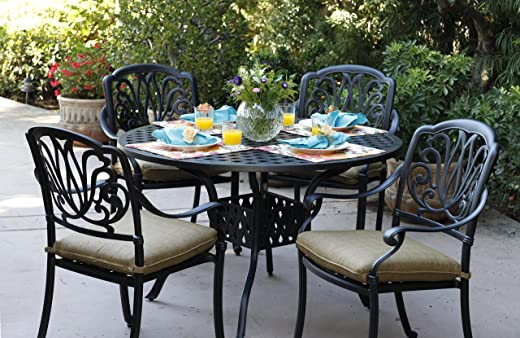 B00Q6OQE9K✅Darlee Elisabeth Cast Aluminum 5-Piece Dining Set with Seat Cushions and 48-Inch Round Dining Table, Antique Bronze Finish