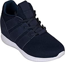 CALTO Men's Invisible Height Increasing Elevator Shoes - Black Mesh Super Lightweight Lace-up Sporty Trainer Sneakers - 3 Inches Taller
