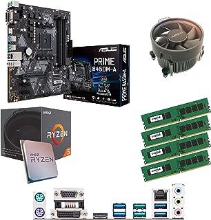 Components4All AMD Ryzen 5 1500 X 3,6 GHz (Turbo 3,7 GHz) fyrkärnig åtta gänga CPU, ASUS Prime B450M-A moderkort & 32 GB 2...
