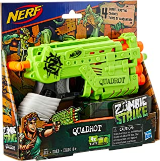 NERF Quadrot Blaster - Zombie Strike + 4 Elite Darts  - Kids Toys & Outdoor Games - Ages 8+