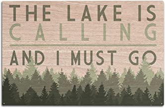 Lantern Press The Lake is Calling and I Must Go - Pine Trees (10x15 Wood Wall Sign, Wall Decor Ready to Hang)
