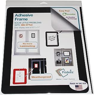 Fodeez Frames Self-Stick Adhesive Sign Display/Dry Erase Board, Black, 8.5