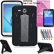 Epicgadget Case for Galaxy Tab E Lite 7.0. Heavy Duty Rugged Impact Hybrid Case with Build in Kickstand Protection Cover for Galaxy Tab E 7 T113 + Screen Protector + Pen (Black/Black)