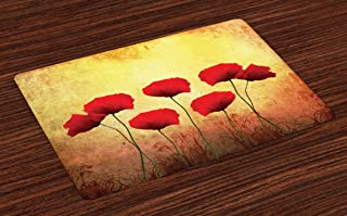 Ambesonne Poppy Place Mats Set of 4, Poppies on Old Aged Retro Featured Backdrop Design Past Days Drama Petals, Washable Fabric Placemats for Dining Table, Standard Size, Yellow Scarlet