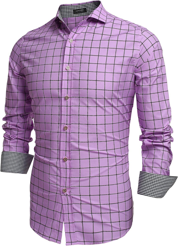 COOFANDY Men's Fashion Long Sleeve Plaid Max 73% OFF Down Shirts Long Beach Mall Casu Button