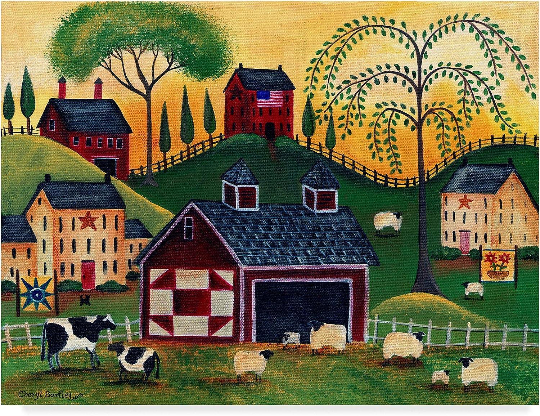 Trademark Fine Art Sunrise Red Quilt Barn by Cheryl Bartley, 14x19