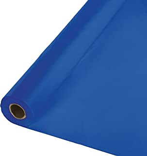 Creative Converting 319025 Festive Cobalt Plastic Table Cover Banquet Roll Tablecover, 40