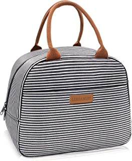LORDAMERE Insulated Lunch Bag For Men, Waterproof Thermal Lunch Bags For Work, Stripe Insulated Women Lunch Box Cooler Lunch Bag (Stripe Black)