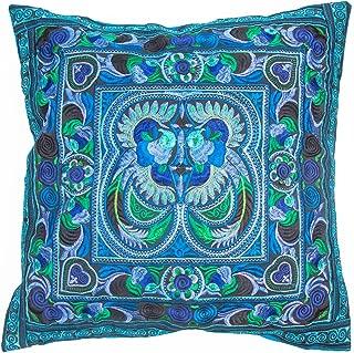 changnoi 16x16 Fair Trade Throw Pillow Cover, Hmong Tribal Embroidered Cushion Cover