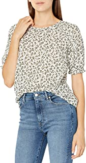 Lucky Brand Women's Short Sleeve Crew Neck Lauren Ruffle Top
