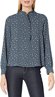 Lark & Ro Women's Long Sleeve Ruffle Placket Button-Up Blouse