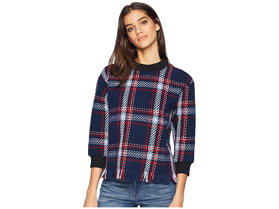 J.O.A. Fringed Pullover Sweater (Navy Plaid) Women