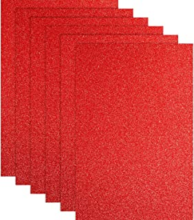 Glitter Heat Transfer Vinyl for T-Shirts 10 x 12 Inches 6 Sheets (Red)