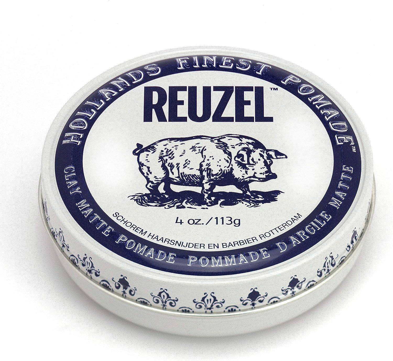 Reuzel - Clay Matte Pomade - Fijación media táctil - Sin brillo - Soluble en agua - Textura y altura de volumen - A prueba de sudor - Ligera - Moldeable - Sutil aroma a vainilla y menta - 4 oz/113 g