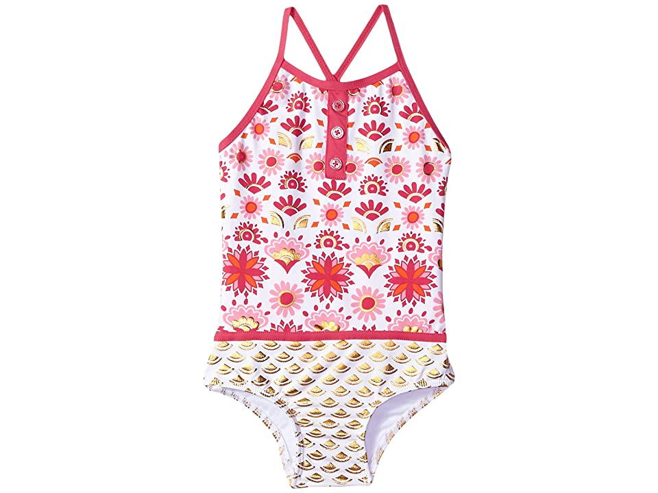Hatley Kids Pink Gold Sarchi One-Piece Color Block Swimsuit (Toddler/Little Kids/Big Kids) (White) Girl