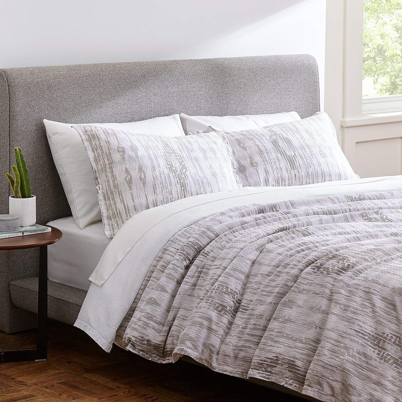 Rivet Modern Ikat Duvet Cover Set, 100% Cotton, Easy Care, Full Queen, Grey