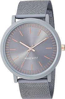 Nine West NW/2166GYGY - Reloj de pulsera de malla de goma gris para mujer