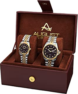 August Steiner AS8201 His and Hers Watch Set - Two Matching Men's and Women's Watches - Stainless Steel Link Bracelet Bands, Gift Box