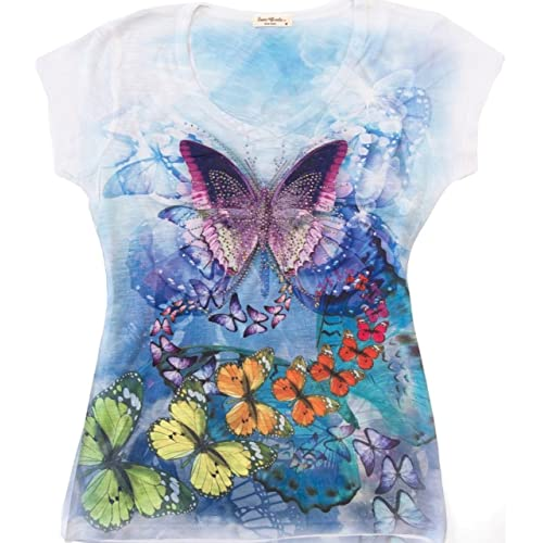 f4cabfed Sweet Gisele Colorful Butterfly Ladies V-Neck 3D Graphic T-Shirt  w/Rhinestones