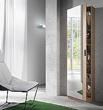 Habitdesign 007866F - Armario zapatero con espejo, color Roble Natural, medidas: 180 x 50 x 20 cm de fondo