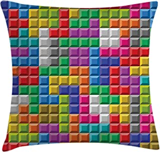 Ambesonne Video Games Throw Pillow Cushion Cover, Colorful Retro Gaming Computer Brick Blocks Image Puzzle Digital 90's Pl...