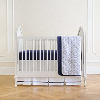 Summer 4-Piece Classic Bedding Set with Adjustable Crib Skirt, Nautical Navy