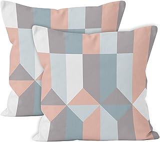 Encasa Homes poszewki na poduszki zestaw 2 szt. (50 x 50 cm) - klocki, bawełna z nadrukiem skośnym z zamkiem błyskawiczny...
