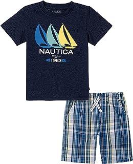 NAUTICA Sets (KHQ) Boys' 2 Pieces Shorts Set, Navy Blazer/Monaco Blue Plaid, 3T