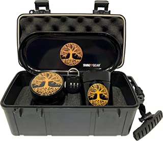 Tree of Life Stash Box Combo - Locking Smell Proof Case with Grinder Stash Jar and Rolling Tray - Ultimate Stash Combo! Odor proof Discrete Stash Container with Accessories (Tree of Life)