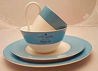 16-Piece Kate Spade Lenox Rutherford Circle Turquoise Blue Pattern Dinner & Salad Plate, Bowl & Tea / Coffee Cup Set