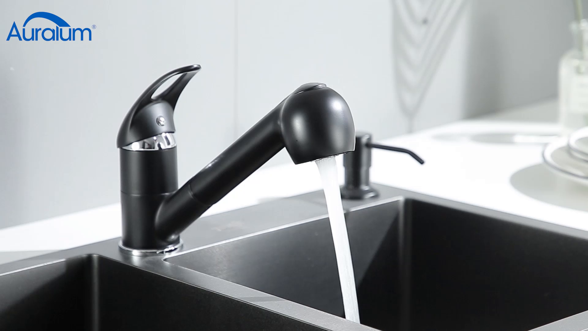 Auralum - Grifo Cocina 2 Vías Negro con Ducha Extraíble Grifos de Fregadero Latón Cromado Mezclador de Cocina para Agua Caliente y Fría: Amazon.es: Bricolaje y herramientas