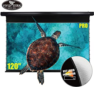 VIVIDSTORM Drop Down Motorized Electric Screen 4K/UHD Laser TV Home Theater Projector 120 inch Ambient Light Rejecting Scr...