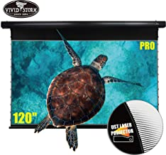 VIVIDSTORM Drop Down Motorized Electric Screen 4K/UHD Laser TV Home Theater Projector 120 inch Ambient Light Rejecting Screen Movie Office Presentation Video Black housing Screen VBMSLUST120H