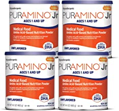 PurAmino Junior Hypoallergenic Toddler Drink Powder for Severe Food Allergies, 14.1 ounce (Pack of 4) - Omega 3 DHA, Iron,...