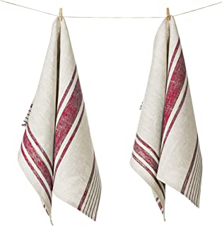 100% Pure Linen Kitchen Tea Towel, Set of 2, 17 x 27 inches, Natural Grey and Red Striped