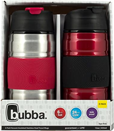Bubba HERO Grip Stainless Steel Travel Mugs,  12 oz,  SS/Cranberry & Cranberry/Black,  2-Pack