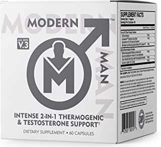 Modern Man V3 - Testosterone Booster + Thermogenic Fat Burner for Men, Boost Focus, Energy & Alpha Drive - Anabolic Weight...