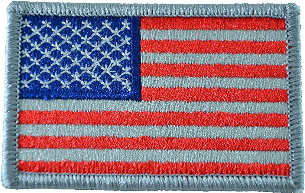 Tactical USA Flag Patch - Subdued Silver 2