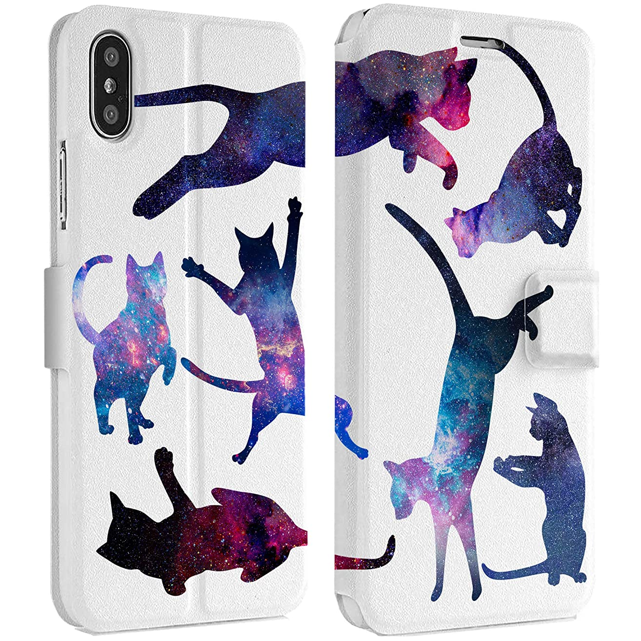 Wonder Wild Space Cat IPhone Wallet Case X/Xs Xs Max Xr 7/8 Plus 6/6s Plus Card Holder Accessories Smart Flip Clear Design Protection Cover Animal Kitten Universe Stars Infinity Constellation Dark