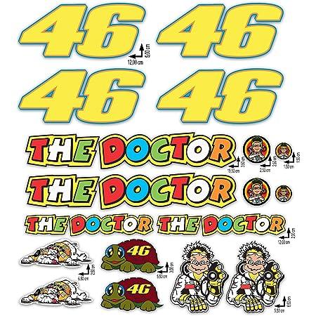 KIT Adesivi Stickers VALENTINO ROSSI THE DOCTOR 46 LOGO pannello intero 16pz OFFERTA motorino MOTO casco MOTOCICLETTA …