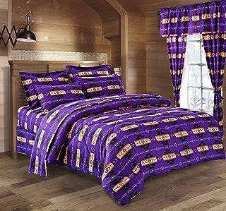 Western Essence Southwest Native American Design Navajo Purple 4 Piece Comforter Set (King)