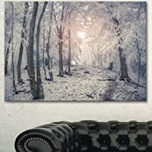 Design Art Winter Sunrise in Mountain Forest Artwork Canvas Print, 20x12