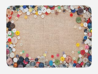 Lunarable Vintage Bath Mat, Buttons Group Design Texture Canvas Sewing Needlecraft Contemporary Picture, Plush Bathroom Decor Mat with Non Slip Backing, 29.5