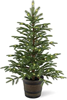 National Tree 4 Foot Feel Real PE Norwegian Spruce Entrance Tree with 100 Clear Lights in Whiskey Barrel Pot (PENG4-306-40P)