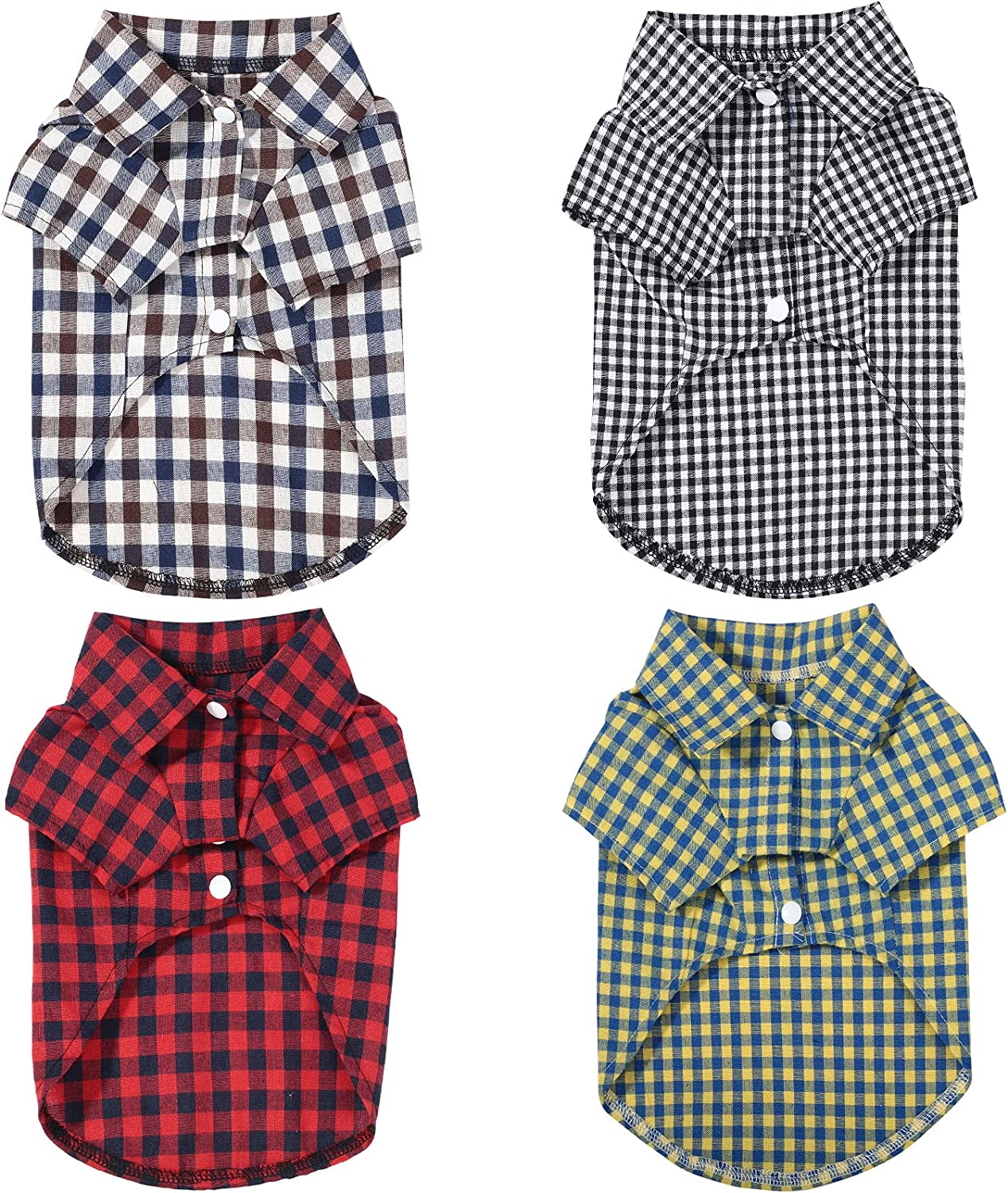 4 Pieces Dog Plaid Shirt Breathable Clothes Cat Max 45% OFF Mail order cheap T-Shirts Pet