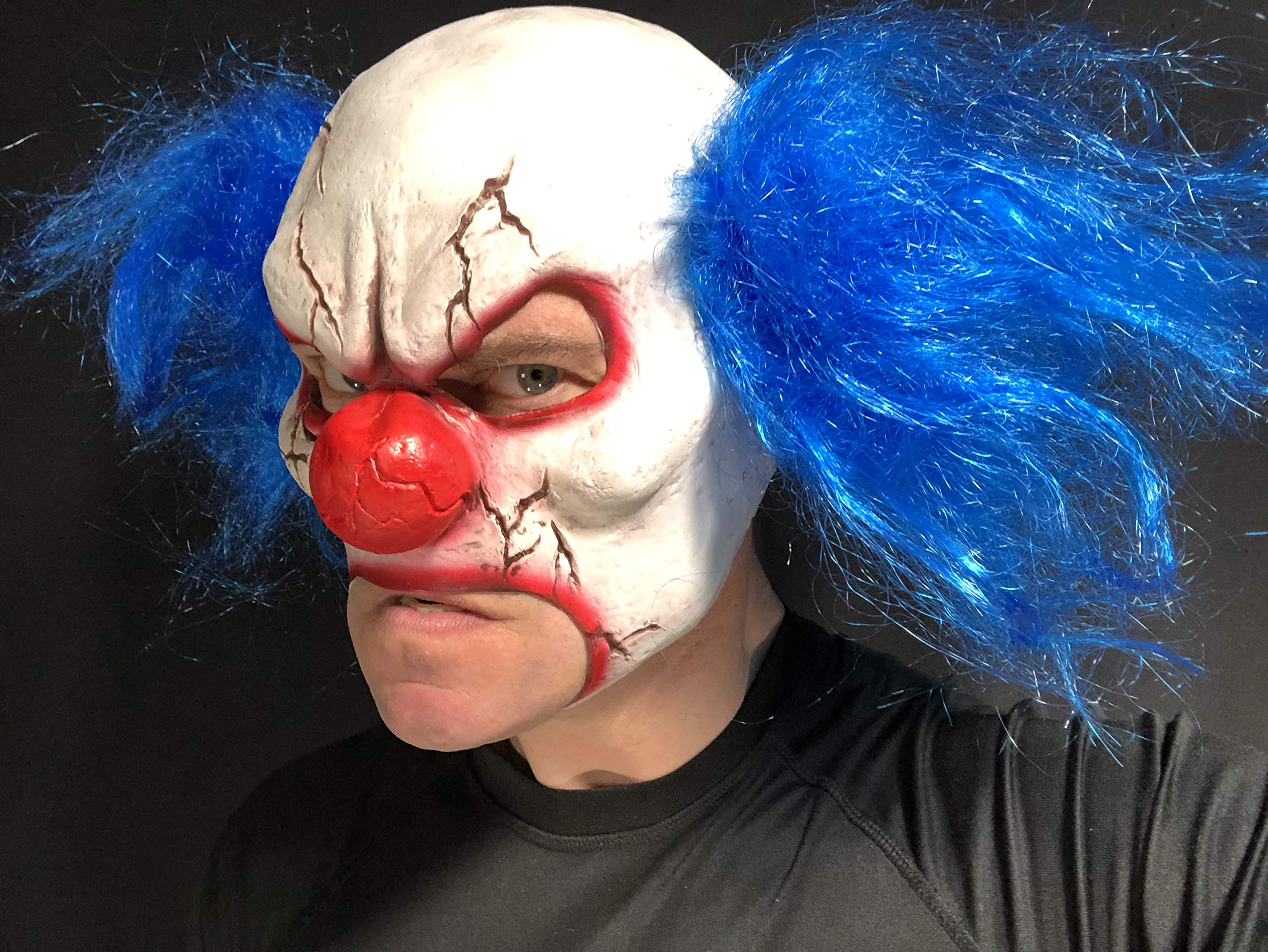 Creepo Clown Rubber Face Mask Costume Halloween Party Red Hair Wig Creepy Adult