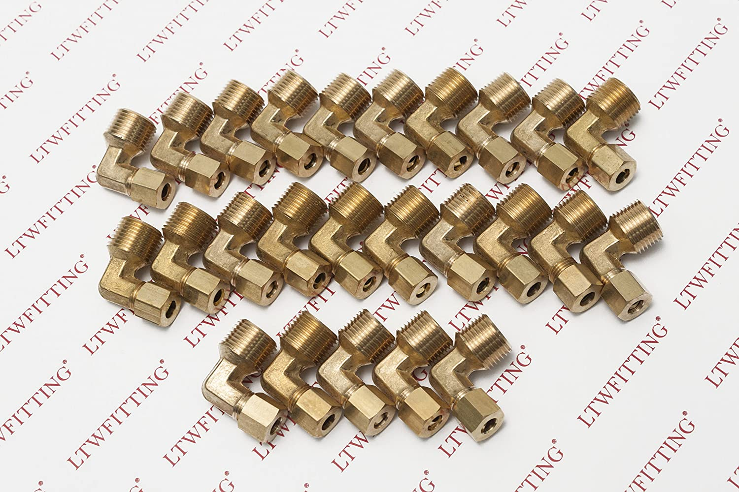 LTWFITTING 3//16-Inch OD x 1//8-Inch Male NPT 90 Degree Compression Elbow,Brass Compression Fitting Pack of 300