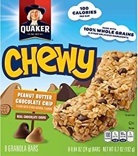 Quaker Peanut Butter Chocolate Chip Chewy Granola Bars, 8-Count, 6.7 Ounce (Pack of 6)(Packaging may vary)