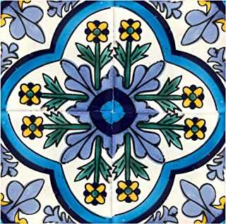 Rustico Tile and Stone TR6DOLORES Dolores Talavera Tile Box of 45, 6x6 Inch, Navy Blue, Blue, Yellow, Green, Off White