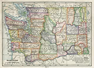Gifts Delight Laminated 33x24 Poster: Washington State Map -
